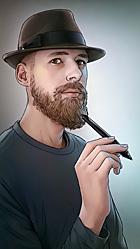 Lars Götze alias Duracel mit Wacom-Stift - Selbstporträt